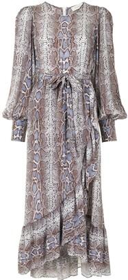 Zimmermann Snakeskin-Print Wrap Dress