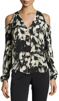 Go by Go Silk Painterly-Print Cold-Shoulder Blouse, Plus Size