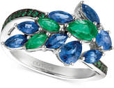 LeVian Le Vian® Precious Collection Sapphire (1-1/2 ct. t.w.), Emerald (2/3 ct. t.w.) and Diamond Accent Statement Ring in 14k White Gold, Created for Macy's