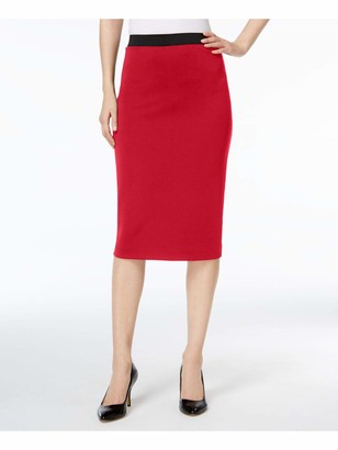 Alfani Womens Red Midi Pencil Wear to Work Skirt UK Size:16