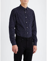 Sandro Micro Diamond-print Slim-fit Cotton Shirt