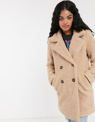 Pimkie double breasted teddy jacket in camel-Beige