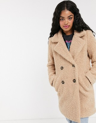 Pimkie double breasted teddy jacket in camel