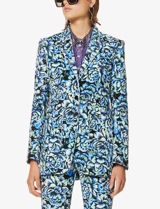 Paco Rabanne Flower-print single-breasted woven blazer