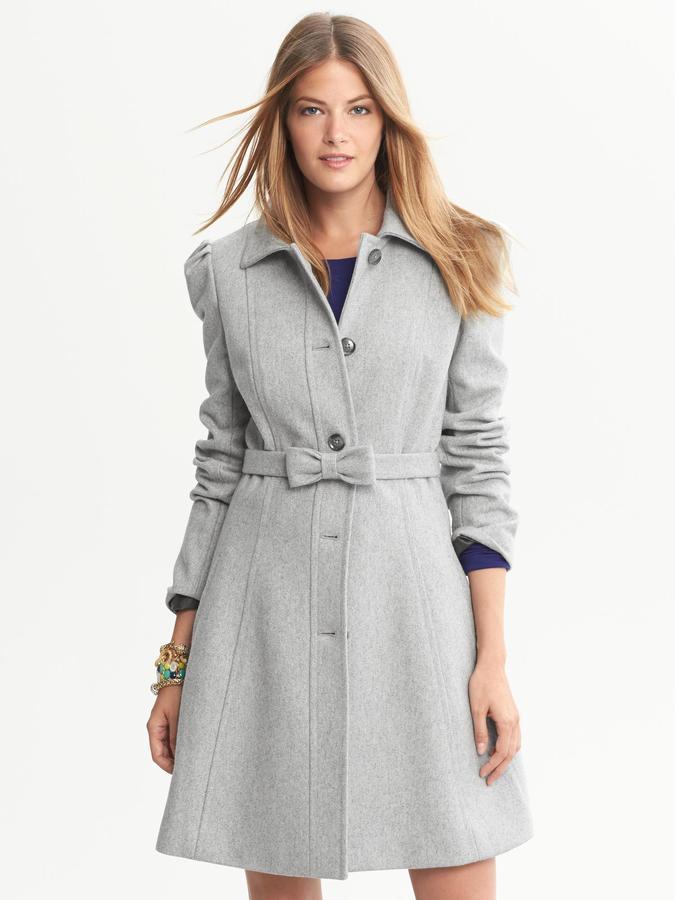 Banana Republic Grey Fit-and-Flare Bow Coat