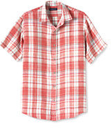 Classic Men's Big & Tall Traditional Fit Short Sleeve Plaid Madras Shirt Navy