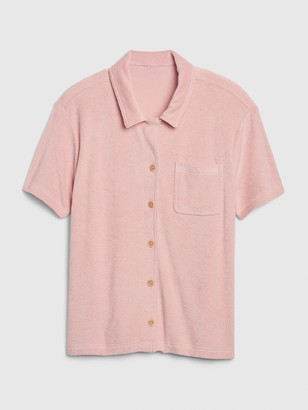 Gap Button-Front Shirt in Towel Terry