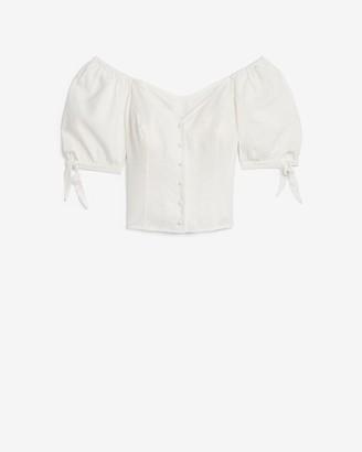 Express Linen-Blend Off The Shoulder Tie Sleeve Top