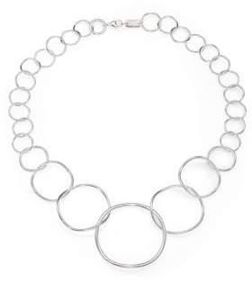 Ippolita Glamazon Sterling Silvery Wavy Circle Necklace