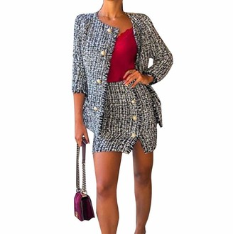 Loalirando Sexy Fashion Women Tweed Blazer Suit Set Plaid Long Sleeve Jacket and Pencil Skirt for Party/Wedding/Ceremony(Jacket S)