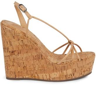 Schutz Cassia Leather Cork Platform Wedge Sandals