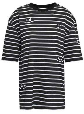 McQ Printed Striped Cotton-jersey T-shirt