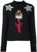 Dolce & Gabbana lion soldier patch jumper - women - Acrylic/Polyamide/Polyester/Brass - 38