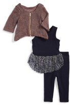 Infant Girl's Pippa & Julie Cardigan, Dress & Leggings Set