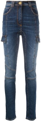 Balmain Faded-Effect Skinny Jeans