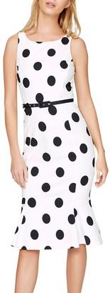 Damsel in a Dress Lillia Spot Dress, Ivory/Black