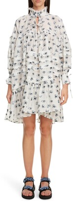 Cecilie Bahnsen Macy Rose Fil Coupe Long Sleeve Shirtdress