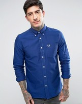 Fred Perry Long Sleeved Oxford Shirt In Blue