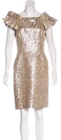 Marchesa Metallic Off-The-Shoulder Dress
