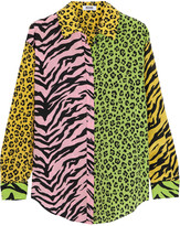Moschino Patchwork animal-print silk shirt
