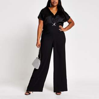 River Island Womens Plus Black snaffle front cape sleeve jumpsuit
