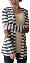 Bignow Womens Sweatwers,Long Sleeve Stripped Shawl Collar Elbow Patch Cardigan S