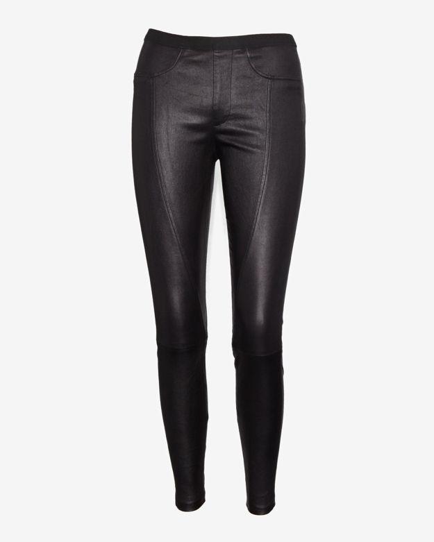 Helmut Lang Zipper Detail Leather Legging: Black