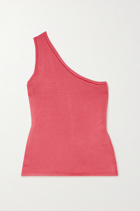 Calle Del Mar Cropped One-shoulder Stretch-knit Top - Pink