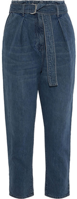 IRO Pablo Cropped Belted High-rise Tapered Jeans