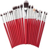 DAXUN 20 Pcs Pro Makeup Brush Set Powder Foundation Eyeshadow Eyeliner Lip Cosmetic Brushes Make-up Toiletry Kit (Red + Silver) Ideal for Daily Use