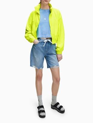 Calvin Klein High Rise Distressed Denim Shorts