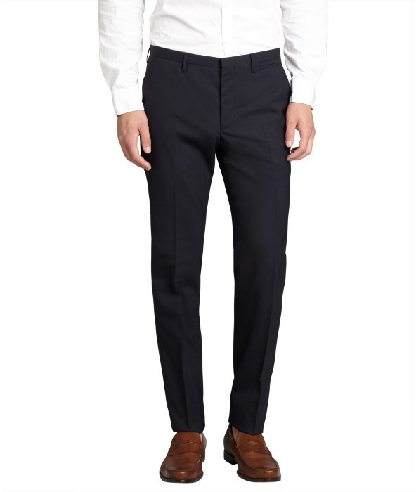 Prada navy wool blended flat front straight leg dress pants