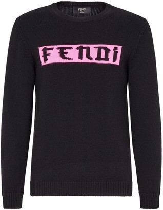 Fendi Prints On crew neck logo jumper