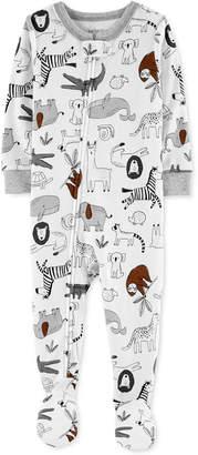 Carter's Carter Baby Boys Animal-Print Snug-Fit Footed Pajamas