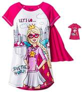 Barbie Girls Superhero Nightgown with Cape & Doll's Gown