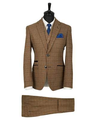 House Of Cavani Three Piece Tweed Check Suit Colour: BROWN, Size: 36R