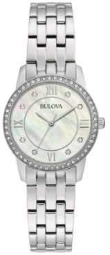 Bulova Women's Crystals Stainless Steel Bracelet Watch 27mm Box Set