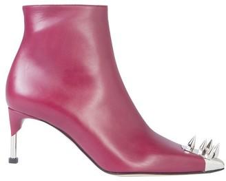 Alexander McQueen Burgundy Leather Boots w/Punk Studs