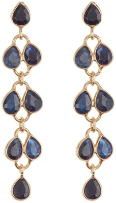 Forever Creations Usa Inc. Blue Sapphire Feather Dangle Earrings