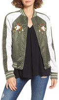 Glamorous Embroidered Satin Bomber Jacket