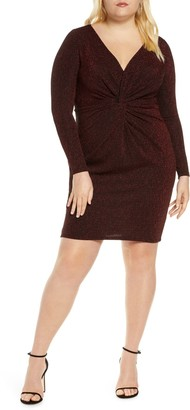 ELOQUII Knot Front Deep V Body-Con Dress