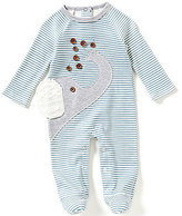 Mud Pie Baby Boys 3-9 Months Striped Elephant-Appliqued Footed Coveralls