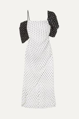 REJINA PYO Layla Wrap-effect Polka-dot Seersucker Midi Dress - Ivory