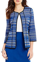 Ming Wang Jewel Neck 3/4 Sleeve Hook Front Multi Stripe Jacket