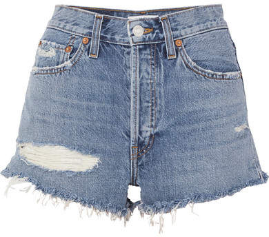 Solid & Striped + Re/done The Malibu Distressed Denim Shorts - Blue