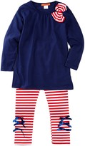 Funkyberry Striped Bow Top & Legging Set (Toddler Girls)