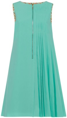 Asymmetric Pleat Reversible Dress With Front Zip