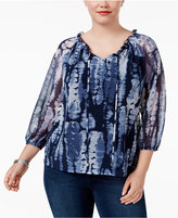 INC International Concepts Plus Size Printed Peasant Top, Created for Macy's