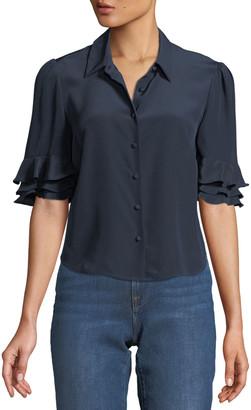 Frame Silk Flutter-Sleeve Button-Front Top