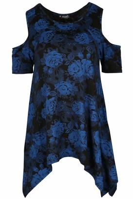 Be Jealous Womens Floral Print Baggy Oversize Ladies Cold Shoulder Cap Sleeve Hanky Hem Top